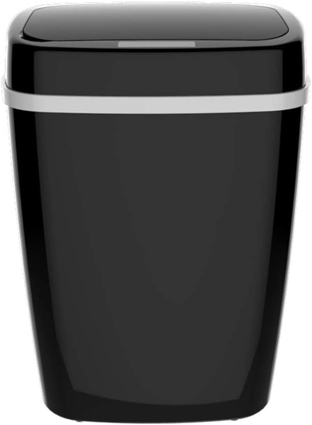 Ecloud Shop Automatic Dustbin Sensor Garbage Can Home Office Sealed Lid Waste Bin Touchless Infrared Motion Sensor Rubbish Can (15L,Black)