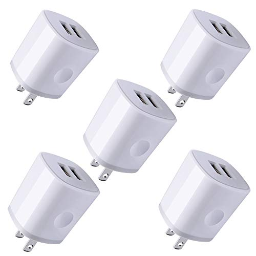 USB Wall Plug, Charger Block, 5Pack AndHot 2.1Amp 2-Port USB Wall Charger Home Travel Fast AC Power Adapter Compatible with iPhone XS/XR/X/8/7/6 Plus, iPad, Samsung, Android Phones, Kindle, LG, Moto