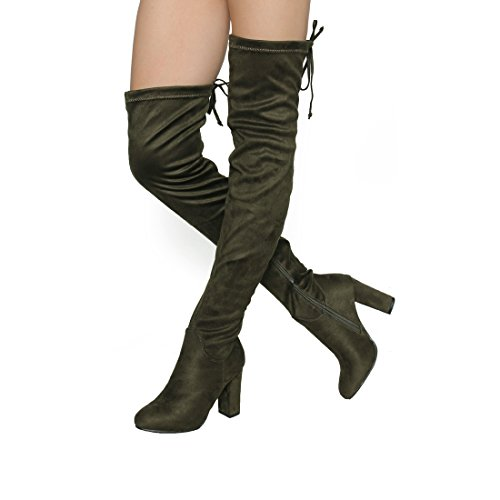 Beston DE01 Womens Block Heel Drawstring Over The Knee Thigh High Stretchy Boot Olive fn04aXkgb1