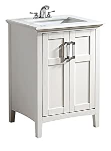 "Simpli Home Winston 24"" Bath Vanity with Quartz Marble Top, White"