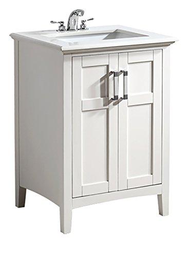 Simpli Home Winston 24' Bath Vanity with Quartz Marble Top, White