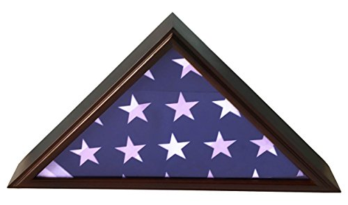 DECOMIL – 5×9 Burial Funeral Veteran Flag Elegant Display Case, Solid Wood, Cherry Finish, Flat Base