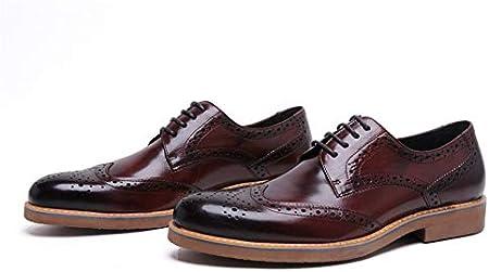 Hombre Negocios Señalaron Zapatos Ocasionales Impermeables Genuino Zapato Cuero La Oficina Smoking Formal Botas con Cordones Brogue Plano La Vendimia Zapato Trabajo,Rojo,39