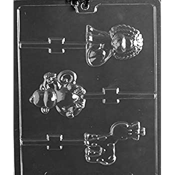 Grandmamas Goodies A151 Monkey, Giraffe, Lion Lollipop Chocolate Candy Soap Mold with Exclusive Molding Instructions