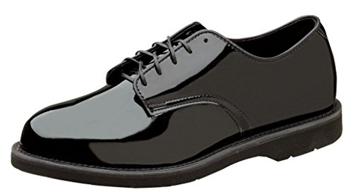 Thorogood Men Poromeric Gloss Black Leather Oxford Police Service Shoe- 8.5 W