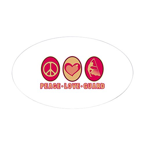 CafePress Peace - Love - Guard Oval Sticker Oval Bumper Sticker, Euro Oval Car Decal ()