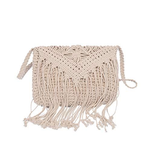 Pengy Bag Tote Retro Tassel for Women Shoulder Bag Woven Solid Color Ladies Handbag Straw Bag Beach Bag