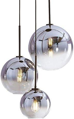 H XD GLOBAL Set 3-Light Globe Gradient Silver Glass Pendant Light,Modern Glass Hanging Light Chaniler Light Silver
