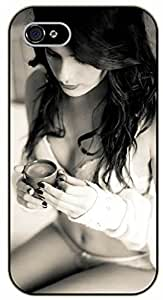iPhone 5C Morning coffee - black plastic case / Sexy Girl Black And White, Hot