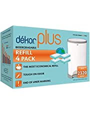 Diaper Dekor Plus Diaper Pail Liner Refills Biodegradable, 4 Count