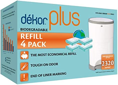 Use Only What You Need Exclusive End-of-Liner Marking Most Economical Refill System 4 Count Dekor Classic Diaper Pail Biodegradable Refills No Preset Bag Size Quick and Simple to Replace