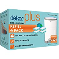 Dekor Plus Diaper Pail Biodegradable Refills   4 Count    Most Economical Refill System   Quick and Simple to Replace   No Preset Bag Size – Use Only What You Need   Exclusive End-of-Liner Marking