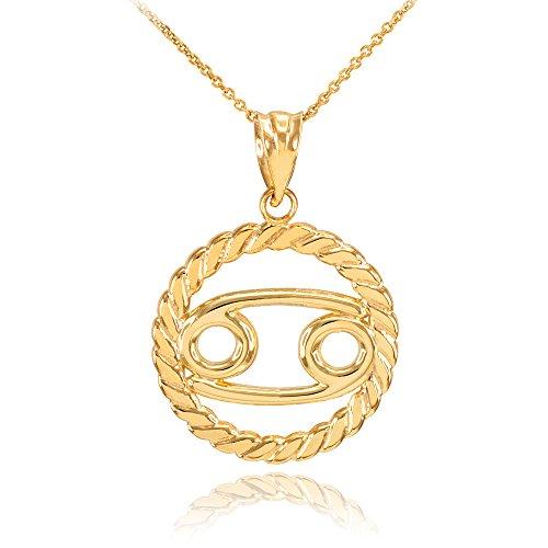 Collier Femme Pendentif 14 Ct Or Jaune Cancer Zodiaque Signe À Cercle Corde (Livré avec une 45cm Chaîne)