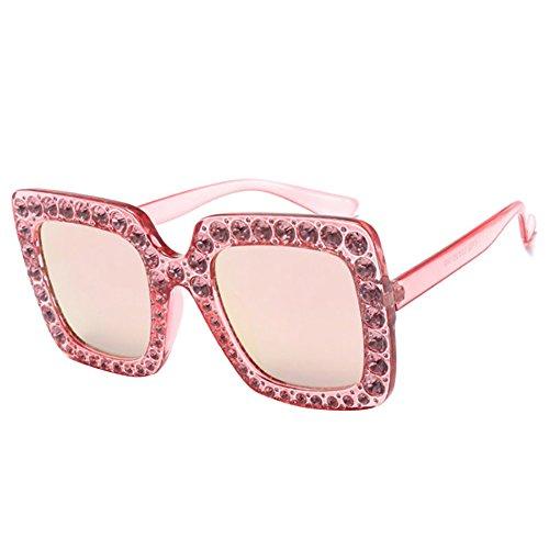 con UV400 sol Steellwingsf para brillantes rosa Gafas mujer cuadrado y única negro talla de marco BqEHIHt