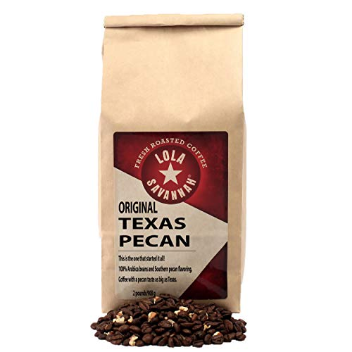Lola Savannah Texas Pecan Whole Bean Coffee - Arabica Beans Combined with Real Pecan Pieces | Caffeinated | 2lb Bag (Best Drip Coffee Beans)