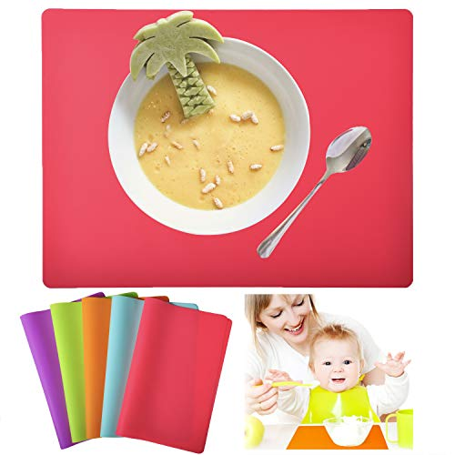 Kindga Placemats for Kids, Silicone Placemat Set for