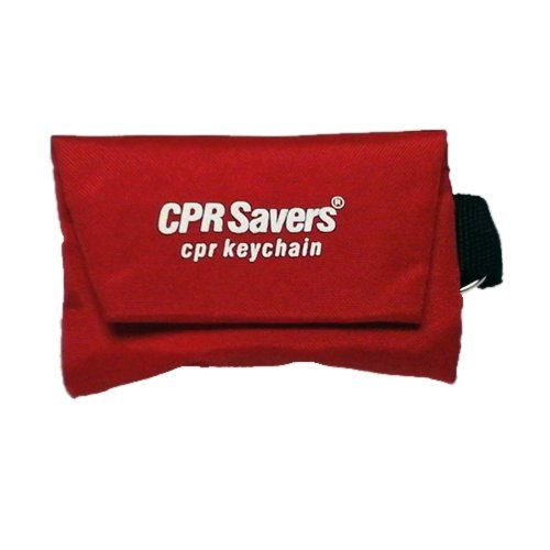 CPR Savers & First Aid Supply Face Shield and Gloves Key Chain Kit (1, Red)