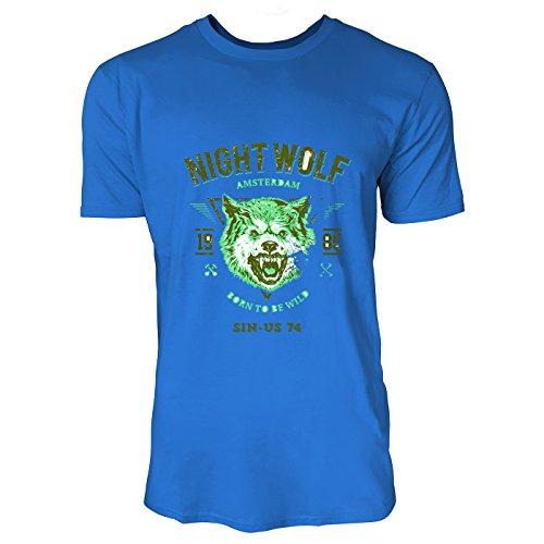SINUS ART® Wolf mit Aufschrift Born To Be Wild Herren T-Shirts in Blau Fun Shirt mit tollen Aufdruck