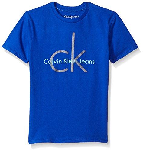 Calvin Klein Big Boys' Classic Ck Logo Crew Neck Tee, Royal, Large (14/16) by Calvin Klein