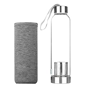 Dolity Glass Water Bottles Stainless Steel Cap with Protective Sleeve - Black, Pink, Green, Gray, Navy Blue - gray, 20x6 cm