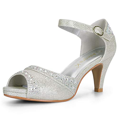 Image of Allegra K Women's Peep Toe Glitter Ankle Strap Rhinestone Heels Halloween Sandals