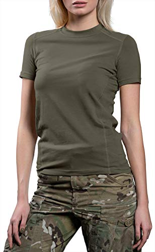 - 281Z Womens Military Stretch Cotton Underwear T-Shirt - Tactical Hiking Outdoor - Punisher Combat Line (Olive Drab, X-Small)
