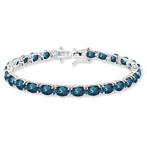 (Sterling Silver 7x5mm London Blue Topaz Oval-cut Classic Tennis Bracelet)