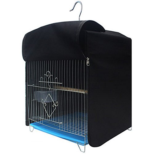 QEES Square Pet Birdcage Covers Large Muti-Functional Cockatiel Zipper Cage Cover Light-Proof Sleep Reduces Distractions Night Accessories(Without Cage) NLZ01 (Black)