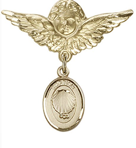 Beautiful Gold Filled Baby Badge with Baptism Charm and Angel With Wings Badge Pin. Gift Boxed by Religious Faithful Gifts