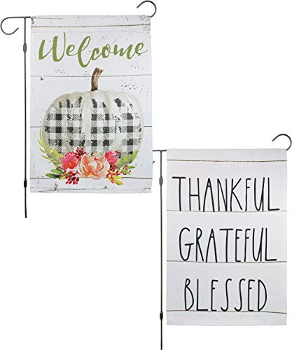 "Set of 2: Thanksgiving Fall Garden Flag 12×18 Double Sided Mini Yard Decoration ""Welcome"" Modern Farmhouse Pumpkin with Black White Buffalo Plaid Check, and ""Thankful Grateful Blessed"" Shiplap"