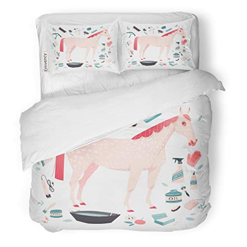 Semtomn Decor Duvet Cover Set Twin Size Red Illustrative of Tools for Horse Grooming Essential Care 3 Piece Brushed Microfiber Fabric Print Bedding Set -