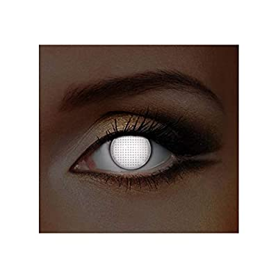 Adults Mens Ladies White Mesh UV Halloween Carnival Contact Lenses Cosmetic Coloured Fancy Dress Eye Wear Accessory