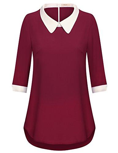 Bebonnie Women's Casual Chiffon 3/4 Sleeve Lapel Neck Blouse Shirt Tops Wine (Lapel Collar Blouses)