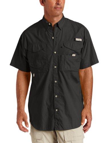 Columbia Men's Bonehead Short Sleeve Fishing Shirt (Black, LT), Outdoor Stuffs