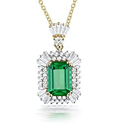 White & Yellow Gold With Emerald Diamond Pendant Necklace