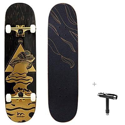 """Merkapa 31"""" Pro Complete Skateboard 7 Layer Canadian Maple Double Kick Deck Concave Skateboards by M Merkapa"""
