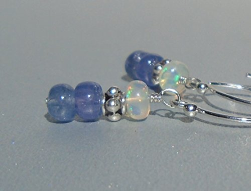 Tanzanite Earrings, Opal Earrings, Ethiopian Opal Earrings, Welo Opal Earrings, Gemstone Earrings, Dainty Earrings, Sterling Silver 3-4mm (Tanzanite Iolite Ring)