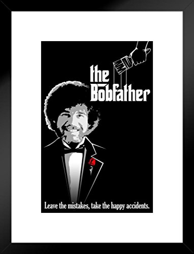 Poster Foundry Bob Ross The Bobfather Funny Parody Matted Framed Wall Art Print 20×26 inch