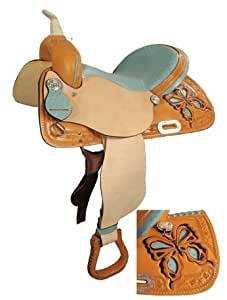 """Saddle King USA Made Butterly Barrel Racing Saddle w/ Ostrich Seat, 1225-Pink, 14"""""""