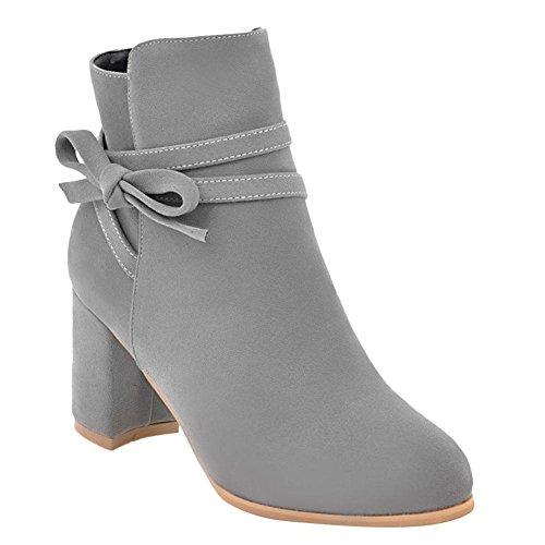 YE Damen Ankle Boots Blockabsatz High Heels Stiefeletten mit Reißverschluss und Schleife Elegant Modern Schuhe Grau