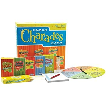 Charades Party Game - Family Charades-in-a-Box Compendium Board Game - Features 6 Themes, 360 Cards, Spinner, And Sand-Timer (Ages 4+)