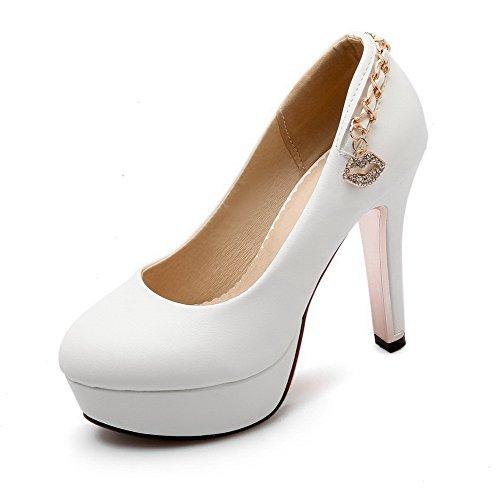 VogueZone009 Damen Schnalle PU Leder Rund Zehe Hoher Absatz Rein Pumps Schuhe, Blau, 39