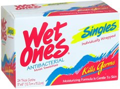 Wet Ones Moist Wipes Fresh Scent Anti Bacterial Singles - 24 ct, Pack of 2