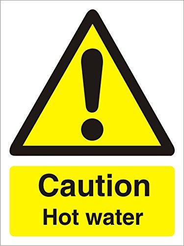 Seco Caution Hot Water Sign, 150mm x 200mm - 1mm Semi Rigid Plastic