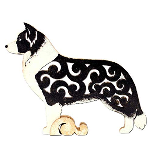 Border Collie dog figurine, dog statue made of wood (MDF), statuette hand-painted