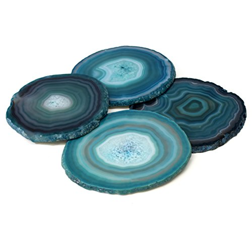 Gift Set of Four Genuine Brazilian (4''- 5'') Agate Coasters. Protective rubber bumpers attached. Certified agate information card included - TEAL by The Royal Gift Shop