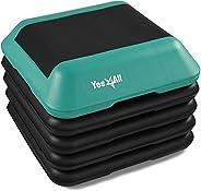 "Yes4All Adjustable High Step Aerobic Platform, 16"" x 16"" Black/Green Step Platforms for Aerobic Step"
