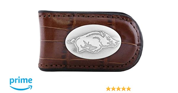 Tan NCAA Arkansas Razorbacks Zep-Pro  Crocodile Leather Magnet Concho Money Clip