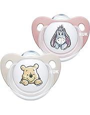 NUK Trendline napp   0–6 månader   BPA-fri silikon napp   Disney Nalle Puh   Rosa (flickor)   2 stycken