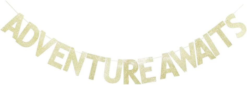 Adventure Awaits Gold Glitter Banner for Travel/Moving Away/Wedding Engagement/Baby Shower/Graduation/Birthday Bridal Shower Party Sign Decors Supplies